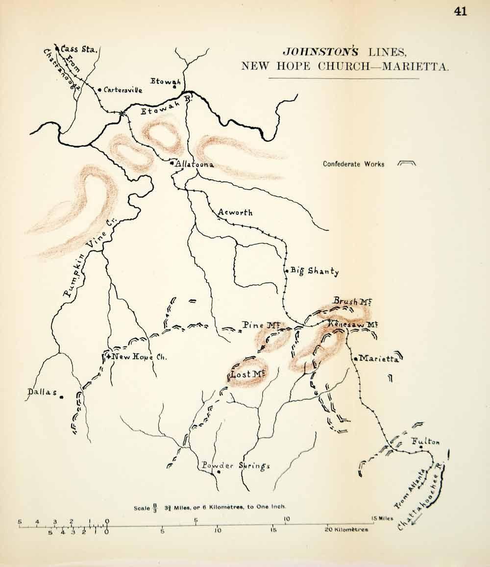 1910 lithograph map american civil war new hope church atlanta marietta cwm1