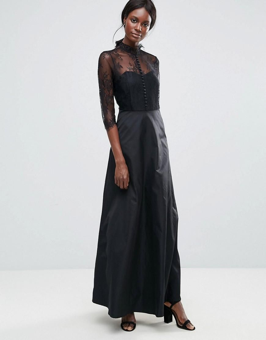 72b302a4c6 ASOS -  Y.A.S Y.A.S High Neck Maxi Dress With Lace Insert - Black ...