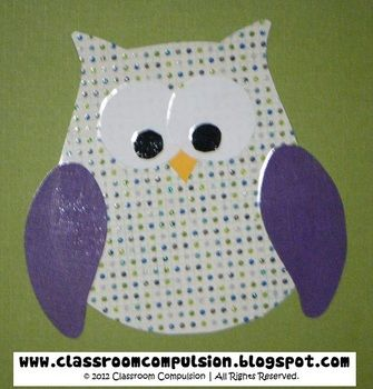 An adorable owl template to create your own owls for bulletin boards, decor, or classroom projects.