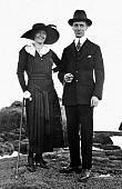 Stylish couple pose in Stamford Ct, ca. 1918.
