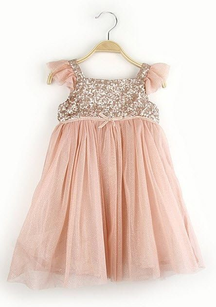 c359e53acbe Size 2T Rose Gold Chiffon and Sequin Childrens Dress
