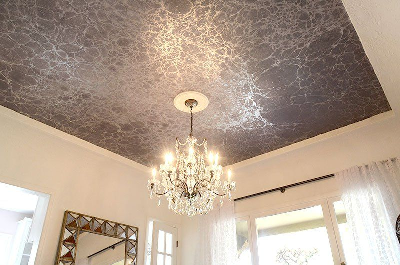 AFTER: our dining room ceiling with wallpaper from Calico