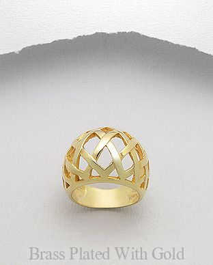 14K Gold Plated Brass Lattice Weave Dome Ring - Auralee Company