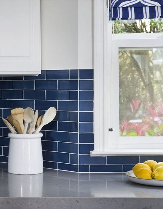 Inspired By Cobalt Blue Blue Subway Tile Kitchen Backsplash
