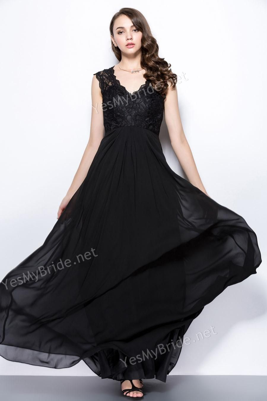 Possible maids dress coppolaloehr wedding pinterest long designer romantic scalloped v neck lace and chiffon long black bridesmaid dress with sheer back is for sale buy romantic scalloped v neck lace and chiffon ombrellifo Gallery