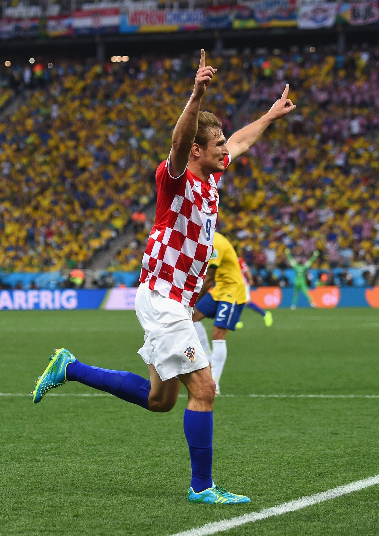 Nikica Jelavic of Croatia against Brazil in the 2014 World