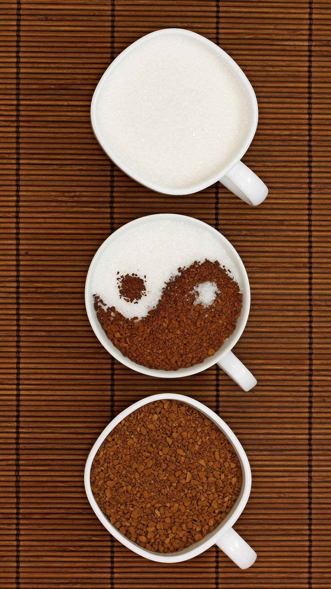 HD cute yin yang coffee iPhone 6 / 6s / Plus wallpapers, cute mobile backgrounds