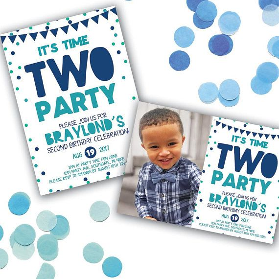 Time Two Party Birthday Invitation 2nd
