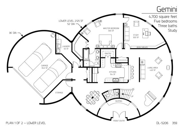 Floor Plans multi level dome home designs