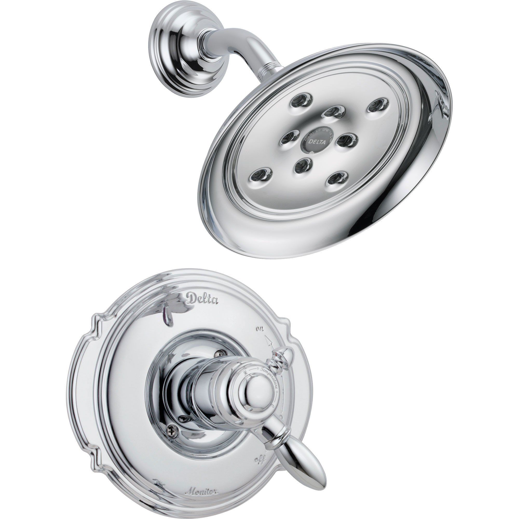 Delta Victorian Dual Control Temp Volume Chrome Shower Faucet With