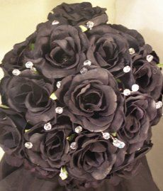 Black Rose And Crystal Bridal Bouquet