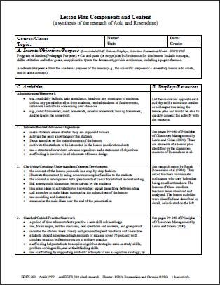 Format # 1 Components and Content wwwlessonplans4teachers - sample elementary lesson plan template