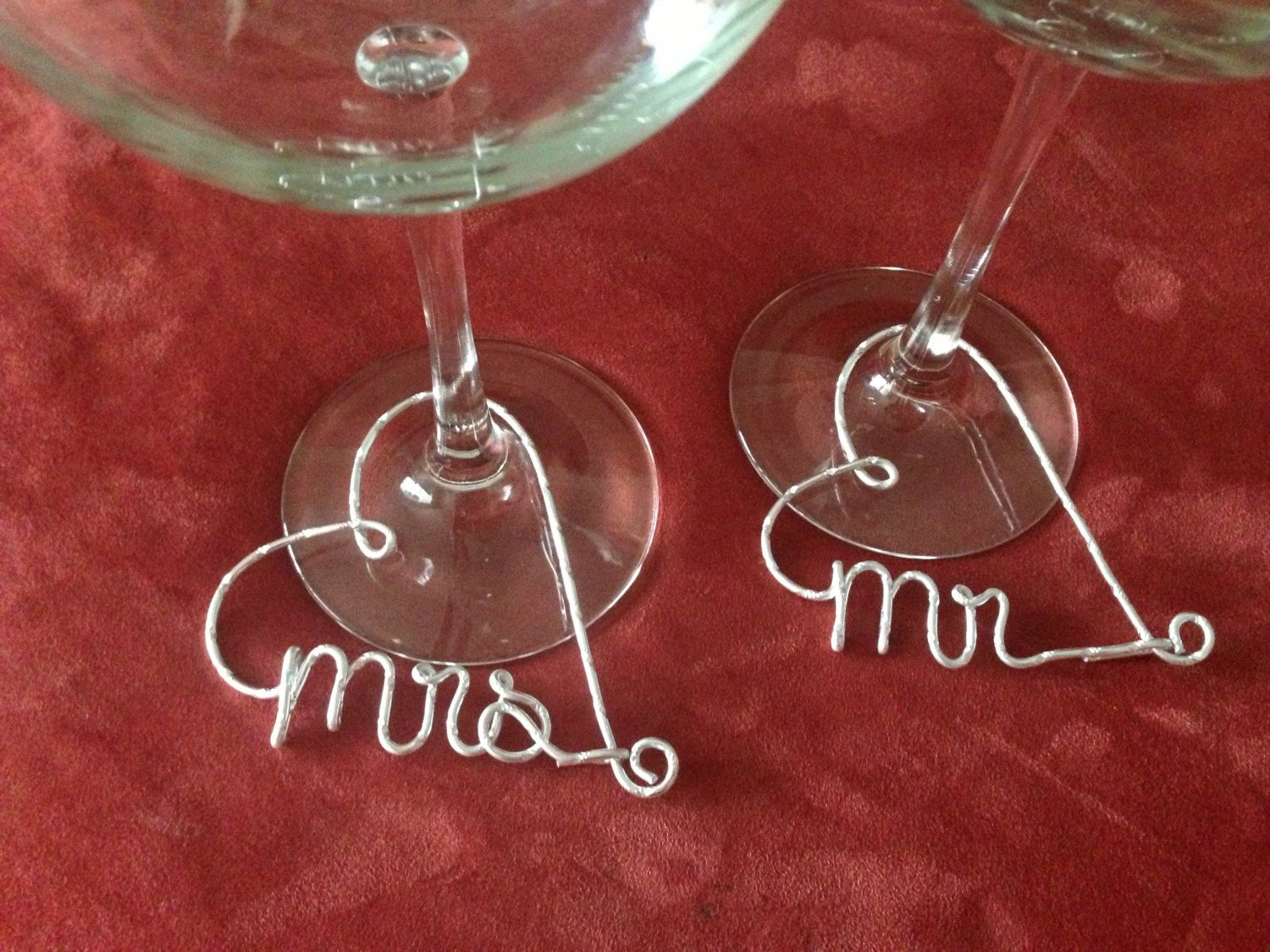 Mr And Mrs Wine Glass Charms 14 00 Via Etsy I Wonder If I Could Make These Wine Glass Charms Wedding Shower Decorations Wine Glass Tags