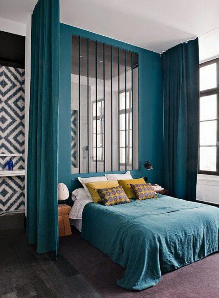 1 chambre a coucher avec cloison amovible ikea pas cher rideau bleu turquoise - Idee Rideau Salon