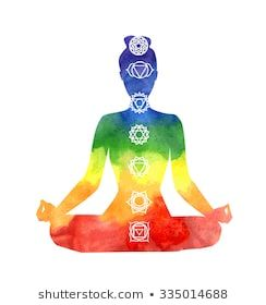 vector silhouette of yoga woman with chakra symbols