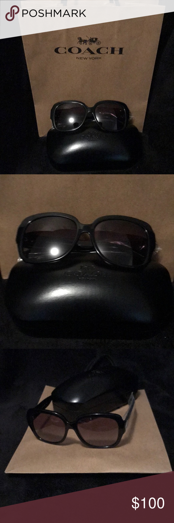 3760d1c8fa ... norway coach signature black solid sunglasses coach sunglasses. large  frames with hearts at side in