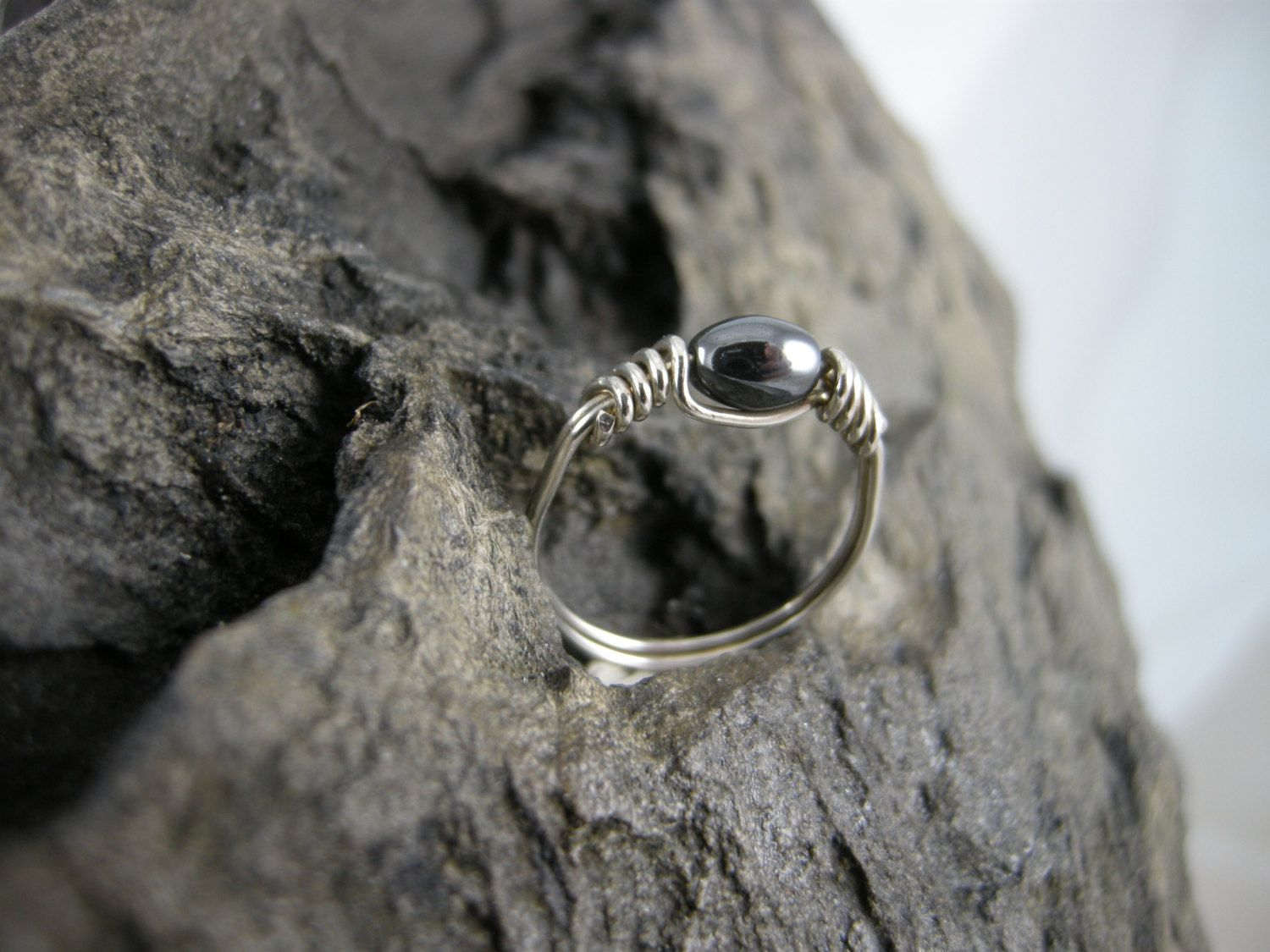 RING, WIRE WRAPPED, 8 mm Barrel Hematite Bead, Wire Wrapped with 20 ...