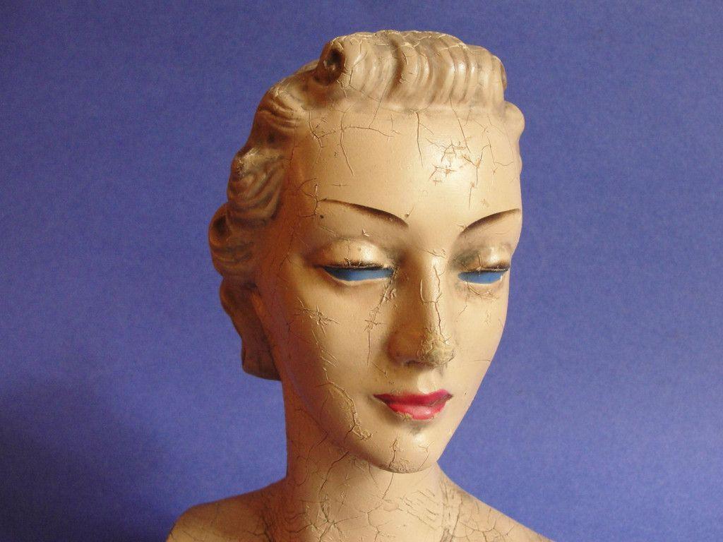 Vintage 1940s Composition Female Mannequin Bust Head Ebay