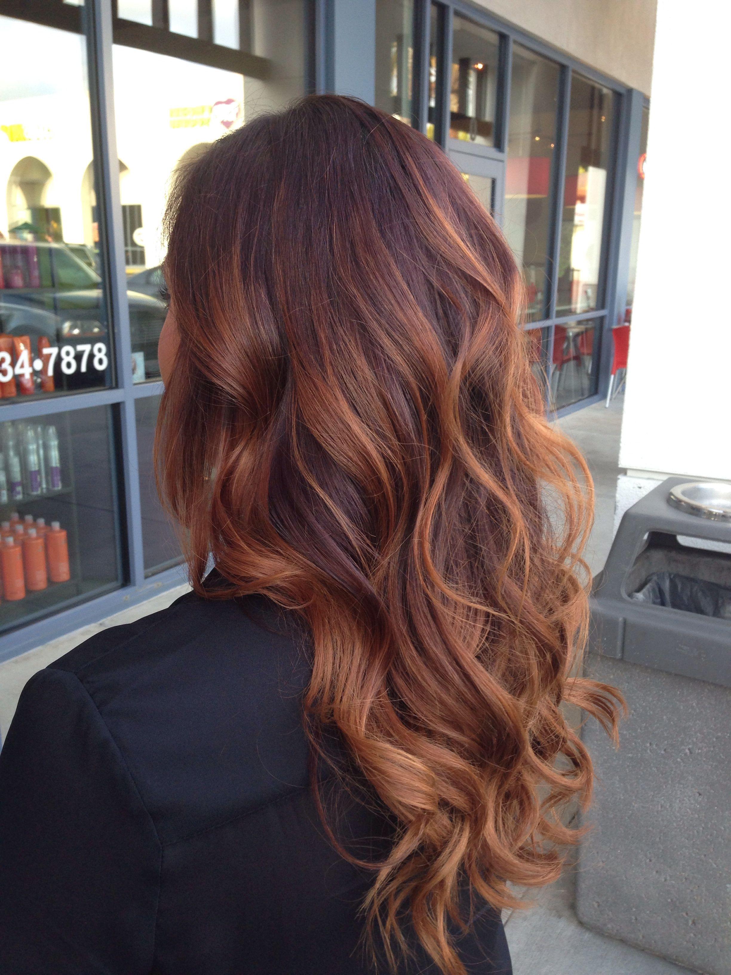 Ombre For Brunette Red Hair Red Brunette Hair Brunette Hair Color Red Balayage Hair