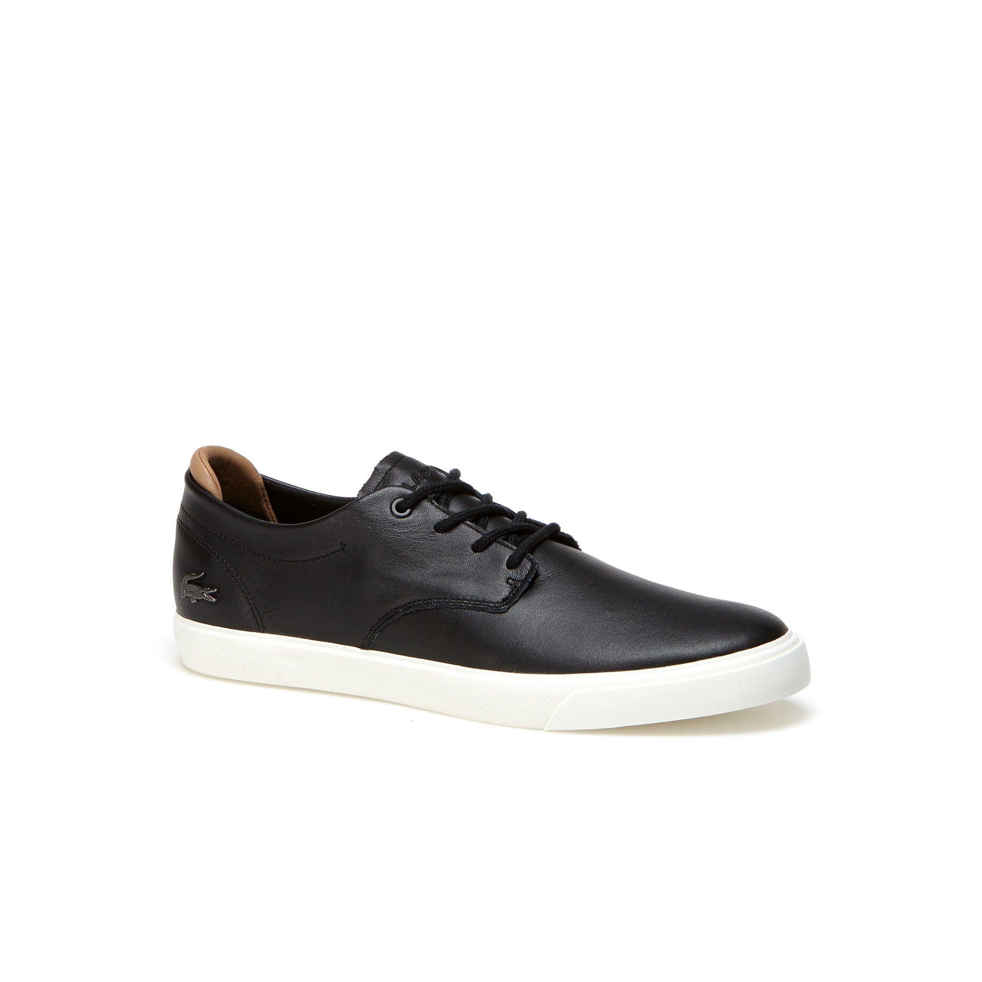 a84ad2e0c LACOSTE Men s Espere Nappa Leather Sneakers - black off white.  lacoste   shoes