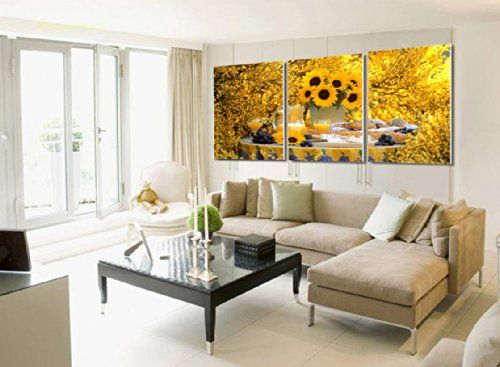 Sunflower Living Room Decor Ideas We Love Color And Style Living Room Pictures Canvas Picture Walls Elegant Wall Art