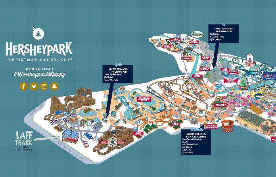 Hershey Park Christmas.2016 Hersheypark Christmas Candylane Map Pennsylvania
