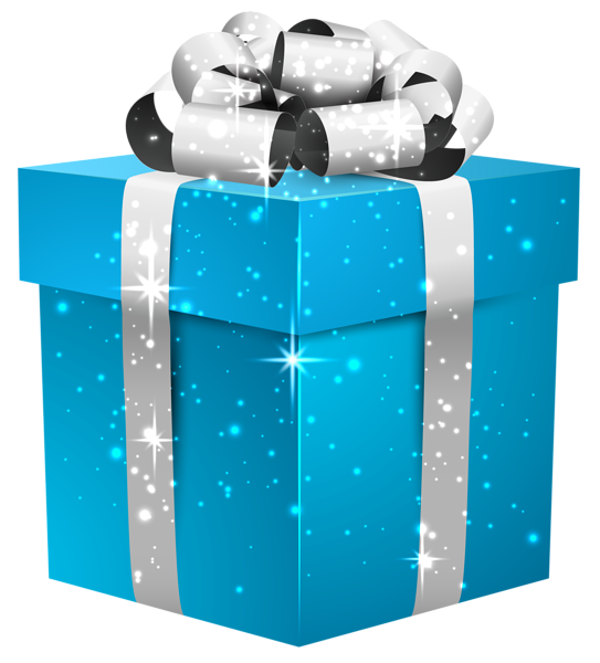 Blue Shining Gift Box With Silver Bow Png Clipart Image Christmas Gift Tags Clip Art Birthday Clipart