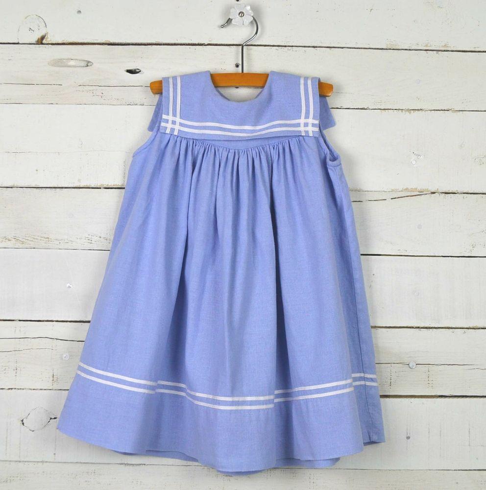 7641a2aa8286 Girls MONDAY'S CHILD Sz 2T Light Blue Chambray Sailor Float Dress Linen  Rayon #MondaysChild #FloatDress #CasualDressy