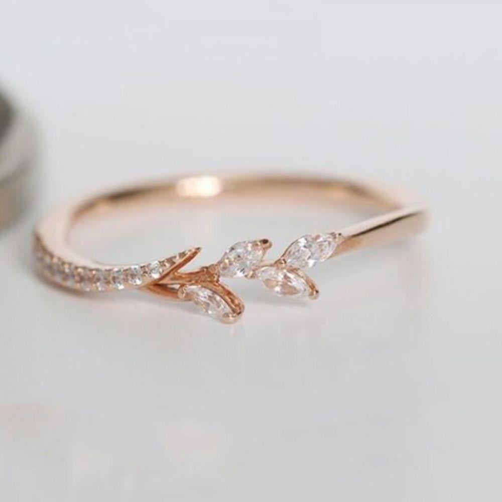 Tisonliz Danity Leaf Crystal Engagement Rings Women S Eternity Wedding Band Rings For Female Rose Gold Rings Jewelry Gifts Crystal Engagement Rings Dainty Engagement Rings Dainty Wedding Ring