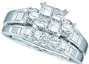 Ladies 10k White Gold 1 Ct Princess Cut Diamond Wedding Engagement Bridal Ring Set  http://electmejewellery.com/jewelry/wedding-anniversary/ladies-10k-white-gold-1-ct-princess-cut-diamond-wedding-engagement-bridal-ring-set-com/