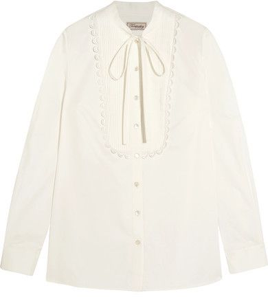Limited Edition Sale Online Temperley London Woman Pussy-bow Pintucked Cotton-poplin Shirt White Size 12 Temperley London 2018 New Cheap Online F8tXjGR2
