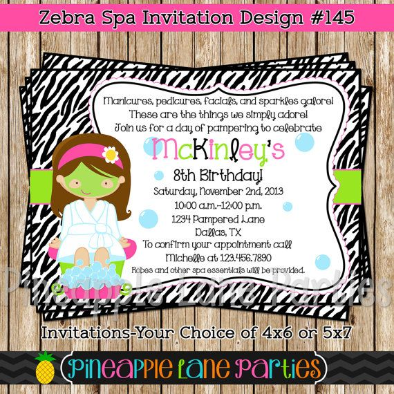 Zebra Spa Birthday Invitation Digital Spa by PineappleLaneParties, $7.50