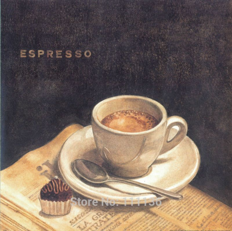 Classic Coffee cup oil painting on Canvas Abstract Wall Art ...