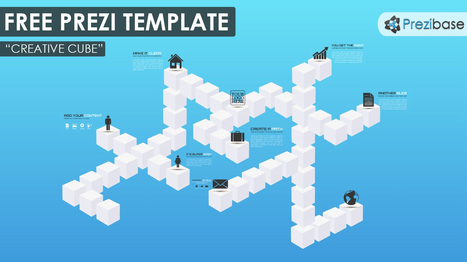 Free Reusable D Design Cube Prezi Template  Prezi Templates