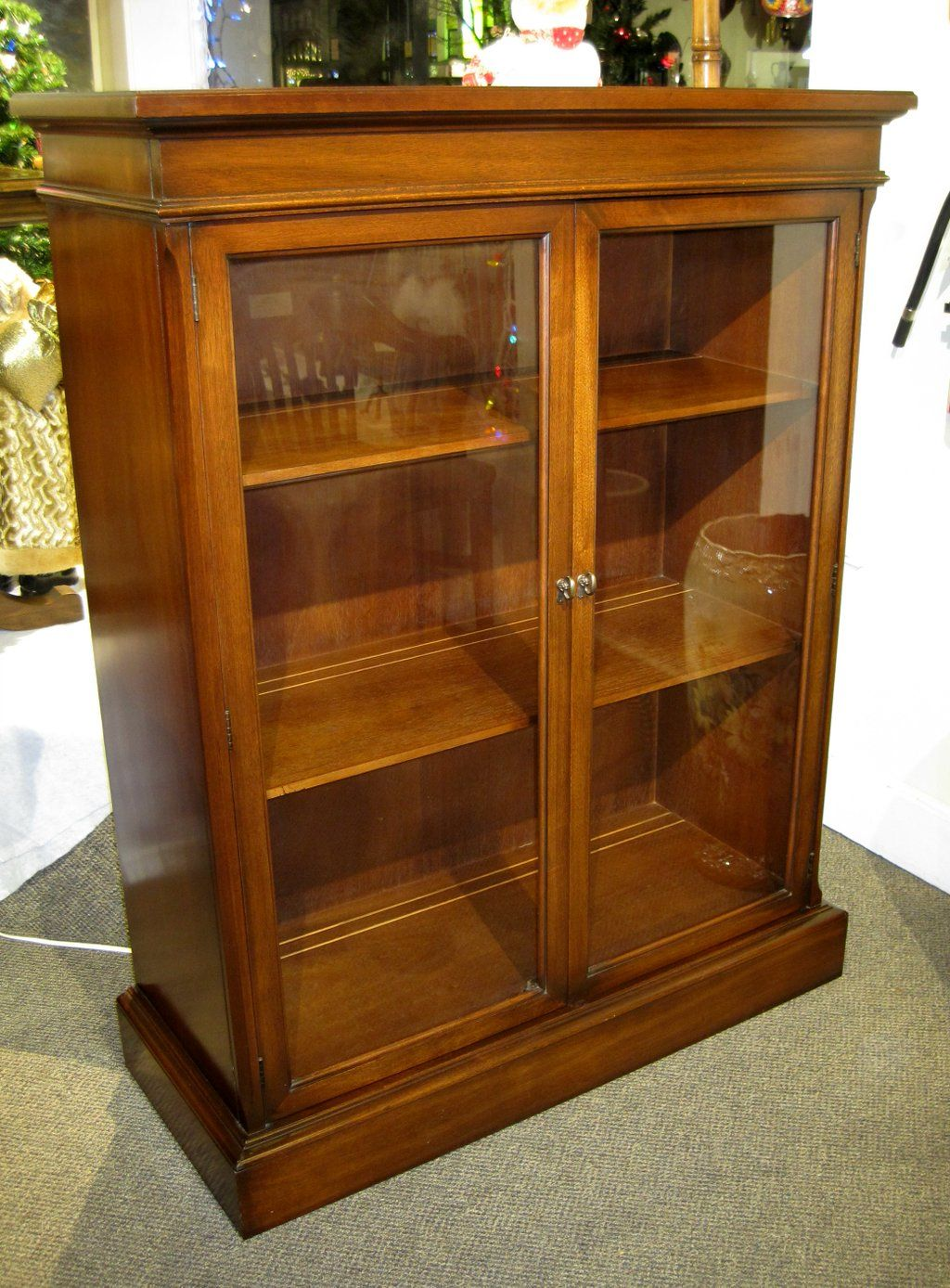 This lovely vintage walnut 2 glass door cabinet is just $449 00