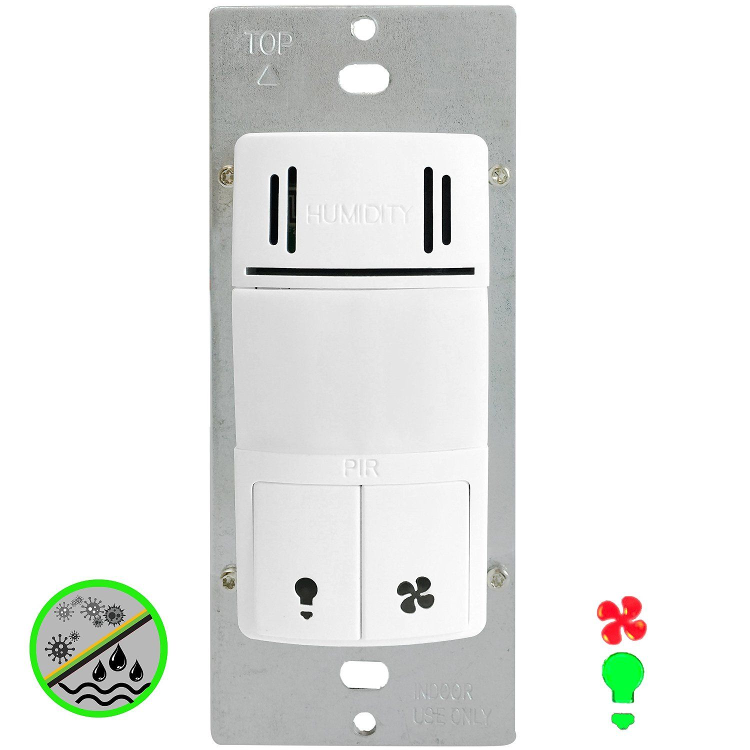 Enerlites Dwhos W Humidity Motion Sensor Switch For Bathroom Fan Light Dual Technology Controls 2 Loads Fac Humidity Sensor Bathroom Fan Bathroom Fan Light