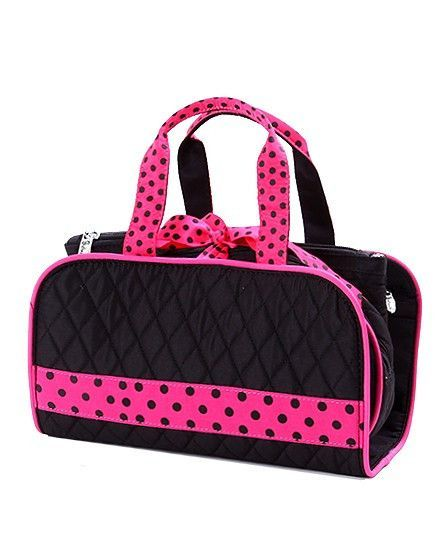 Belvah Quilted Cosmetic Bag   Black/Pink 3PC