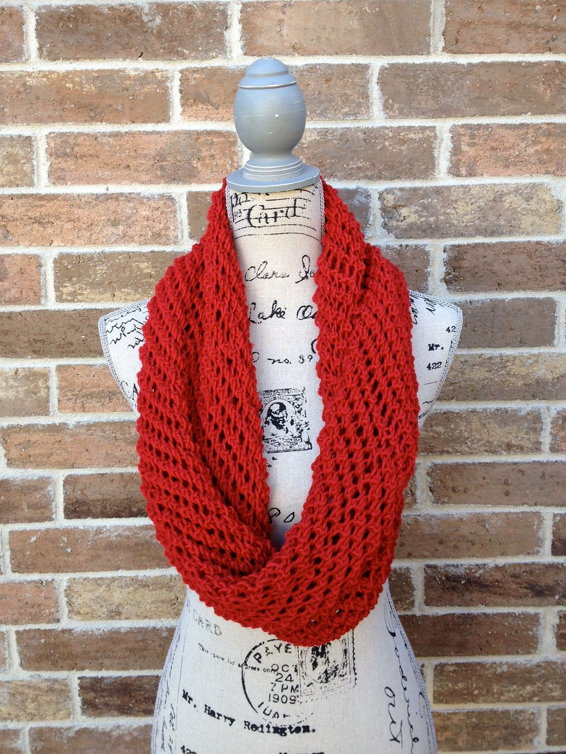 PATTERN Lacy Infinity Scarf Knitting Pattern - DIY Gift Lacy Cowl ...