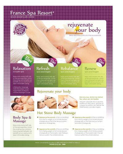 Beauty Spa  Massage Resort Flyer Template Great Beauty Spa