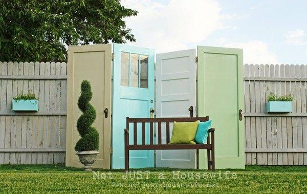 old door privacy screen. Black Bedroom Furniture Sets. Home Design Ideas