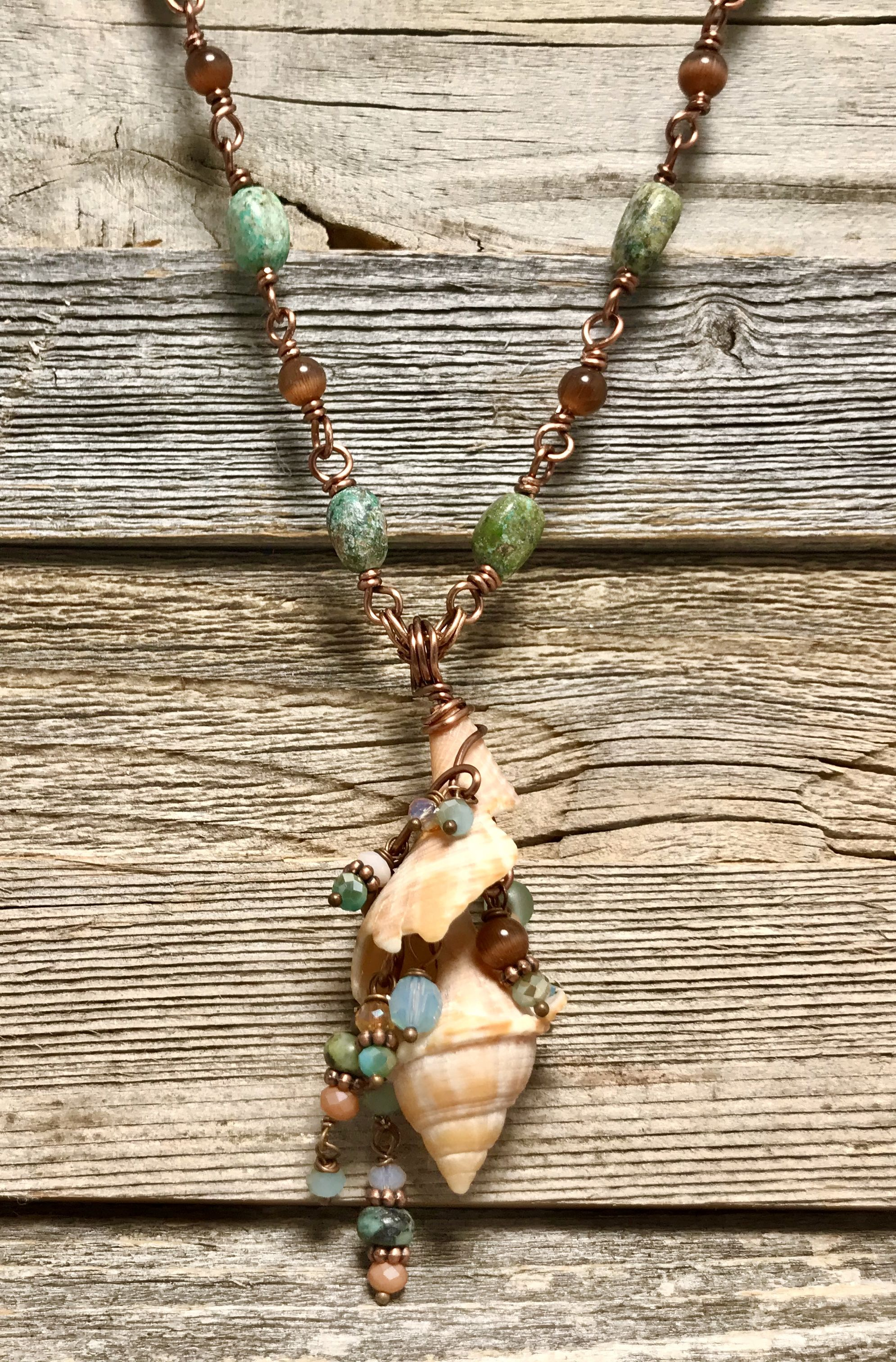 Beaded Wire Wrapped Seashell Necklace