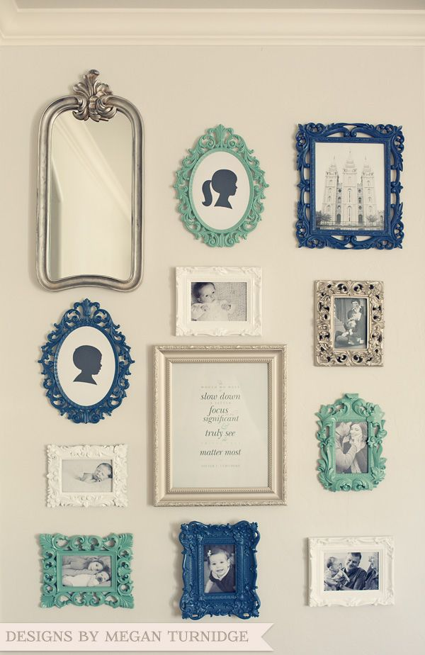 Vintage Photo Wall Collage {LOVE the frame colors!}