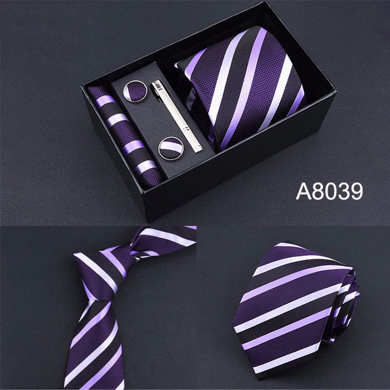 Mens Necktie Pocket Square Sets with Button Cover Cufflinks and Tie Clip in Gift Box Best Gift for Wedding Business Party