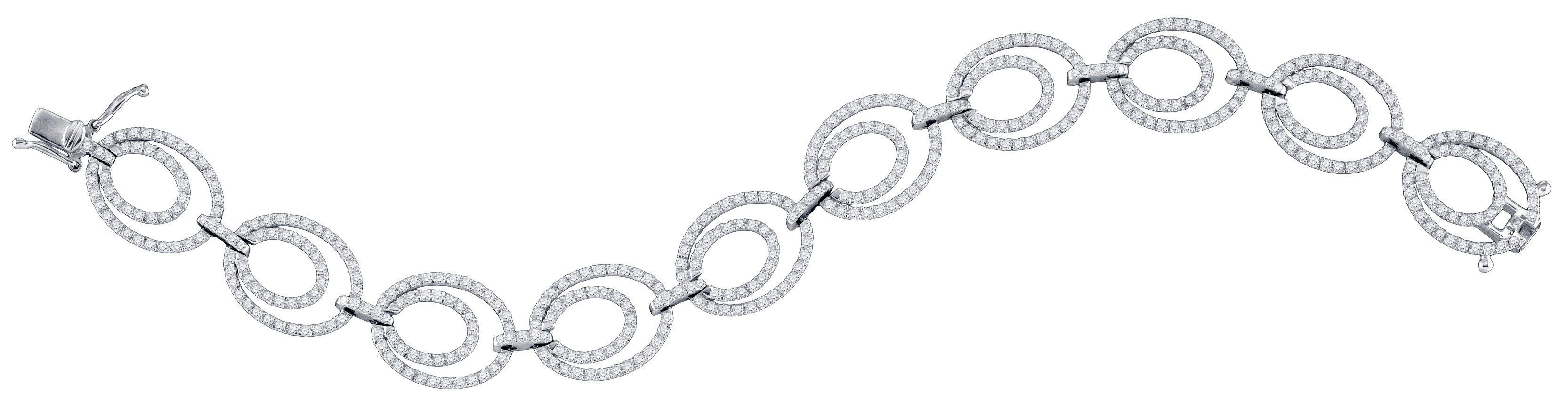Kt white gold womens round diamond tennis link oval bracelet