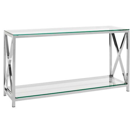 Hayward Console Table. Chrome Finished Stainless Steel Console Table With  X Shaped Sides