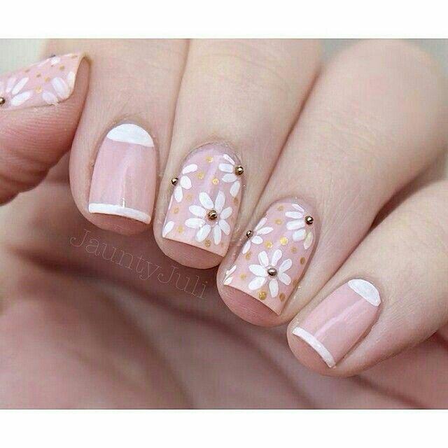 Pink White Floral Nail Art Nail Art Spring Nail Art Nail Art Designs