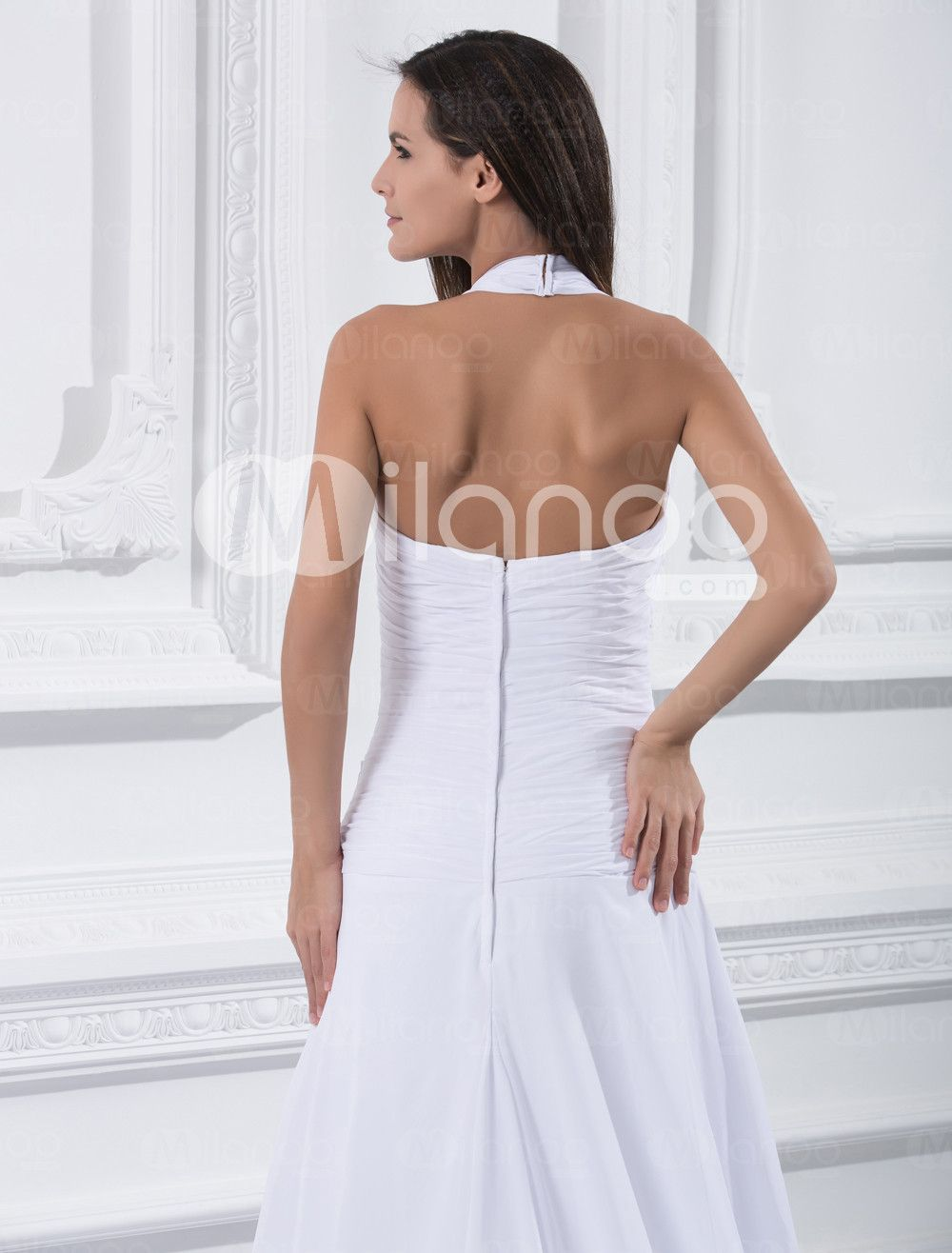 Wedding dresses oahu  Elegant White Chiffon Aline Halter Wedding Dress  White fashion