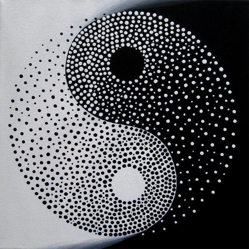 Yin Yang Original Modern Painting On Canvas Acrylic Abstract Yin Yang Decor Yin Yang Art Black And White Yin Yang Yin Yang Silhouette Tatuajes Yin Yang Cuadros Modernos Mini Arte