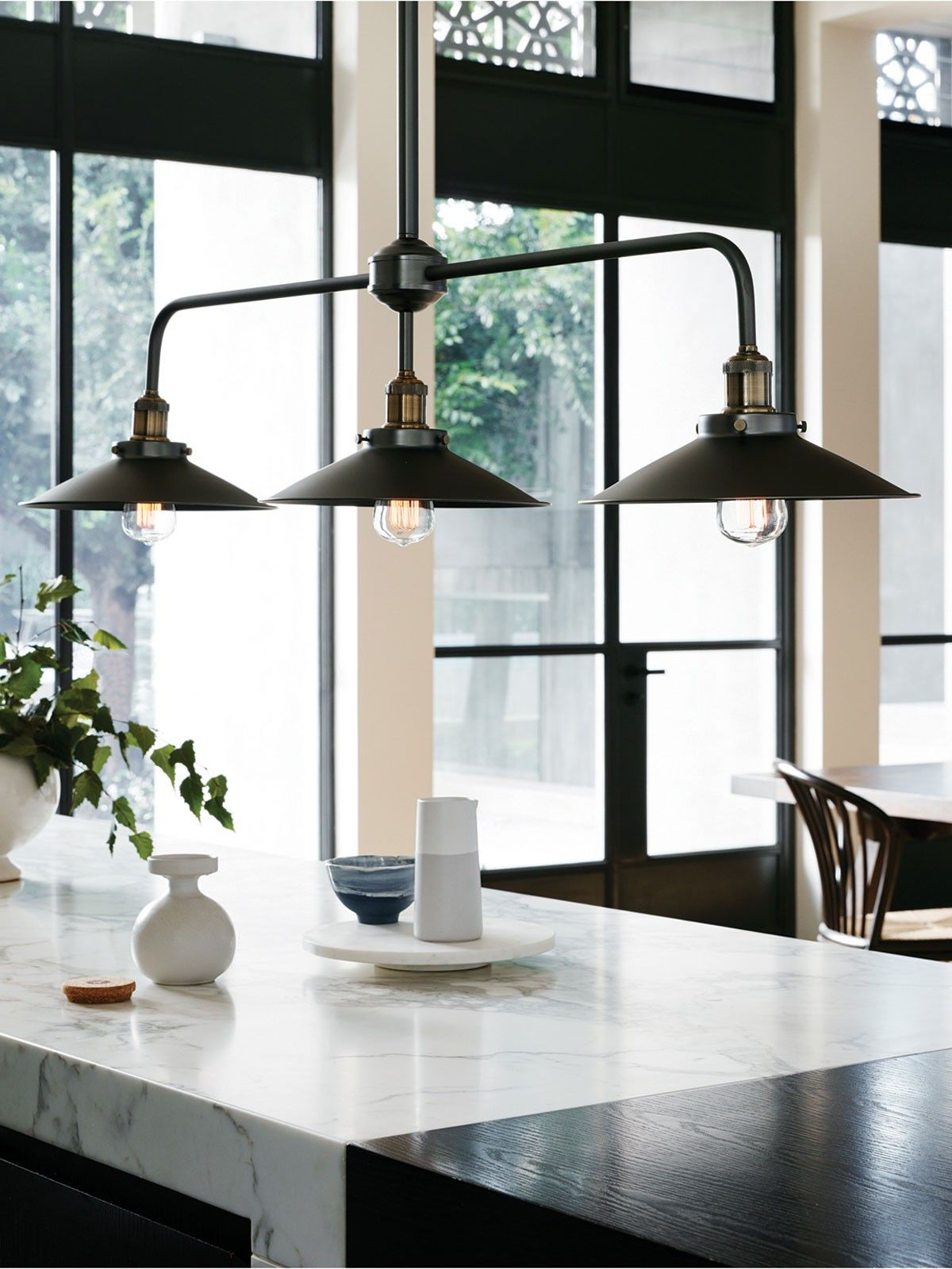 Manor 3 Light Bar Pendant Frame In Aged Steel | Traditional Pendants | Pendant  Lights |
