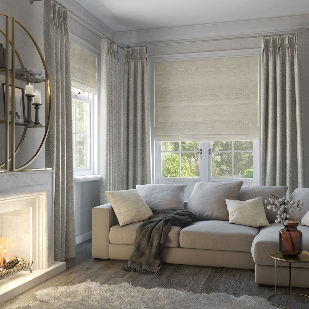 Contemporary Window Dressing Inspiration From Style Studio Maverick Cas Blinds And Curtains Living Room Window Treatments Living Room Roman Blinds Living Room